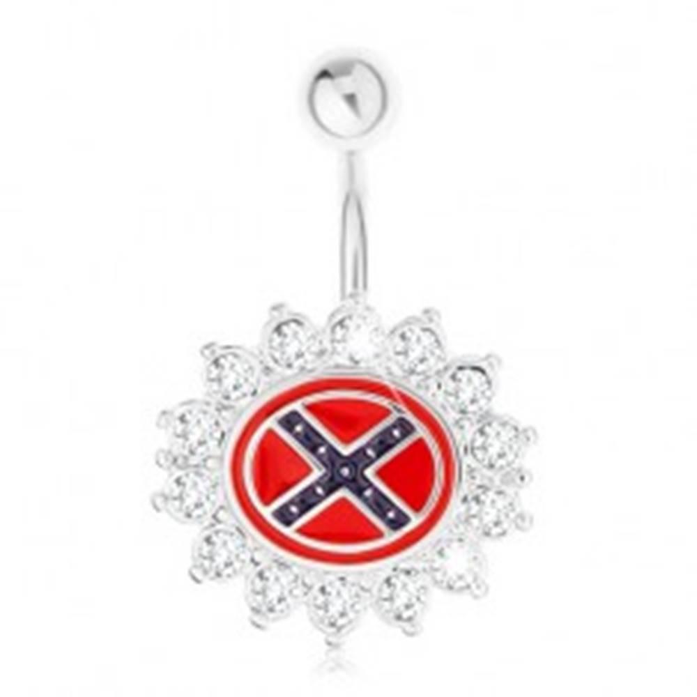 Šperky eshop Piercing do brucha z ocele 316L, kvet so zirkónovým lemom, južanská vlajka