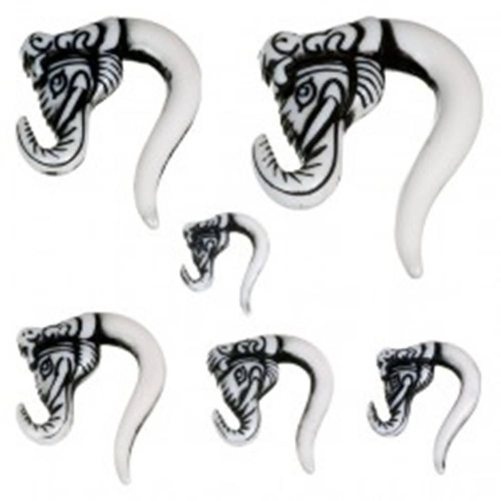 Šperky eshop Piercing do ucha - taper, slonia hlava, čierna farba - Hrúbka: 10,5 mm