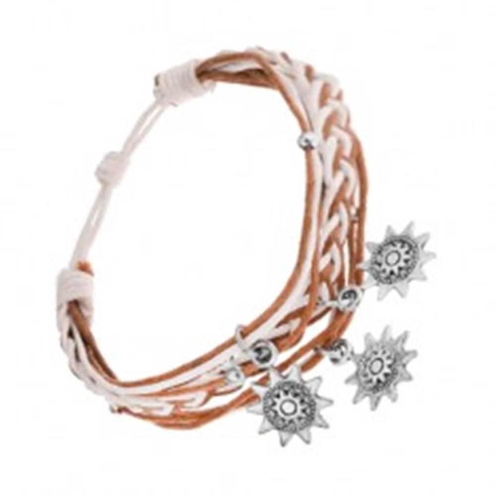 Šperky eshop Pletený náramok, šnúrky, svetlohnedá a biela, oceľové prívesky - slniečka