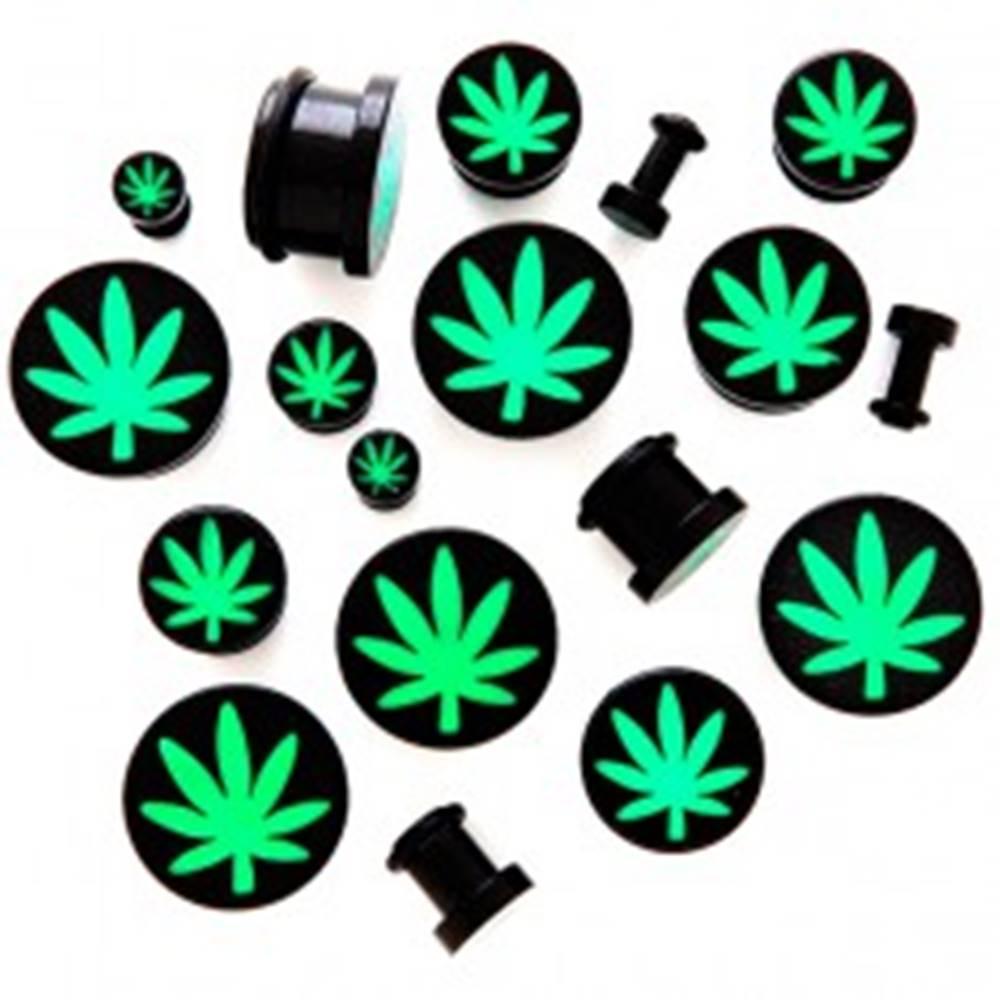 Šperky eshop Plug do ucha z akrylu s motívom marihuany - Hrúbka: 10 mm
