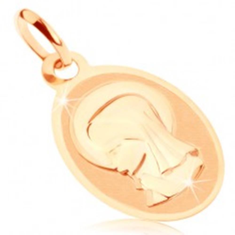 Šperky eshop Prívesok v žltom 9K zlate - oválny medailón s Pannou Máriou, lesklo-matný