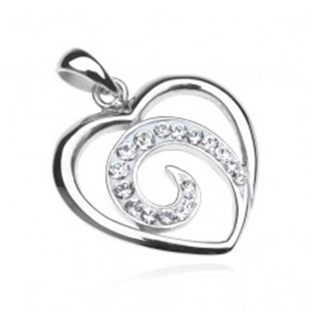 Šperky eshop Prívesok zo striebra 925 - línia srdca so zirkónovou špirálou