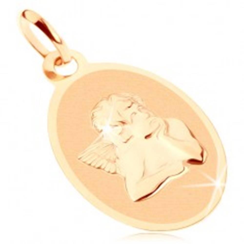 Šperky eshop Prívesok zo žltého 9K zlata - oválny plochý medailón s anjelom, lesklo-matný