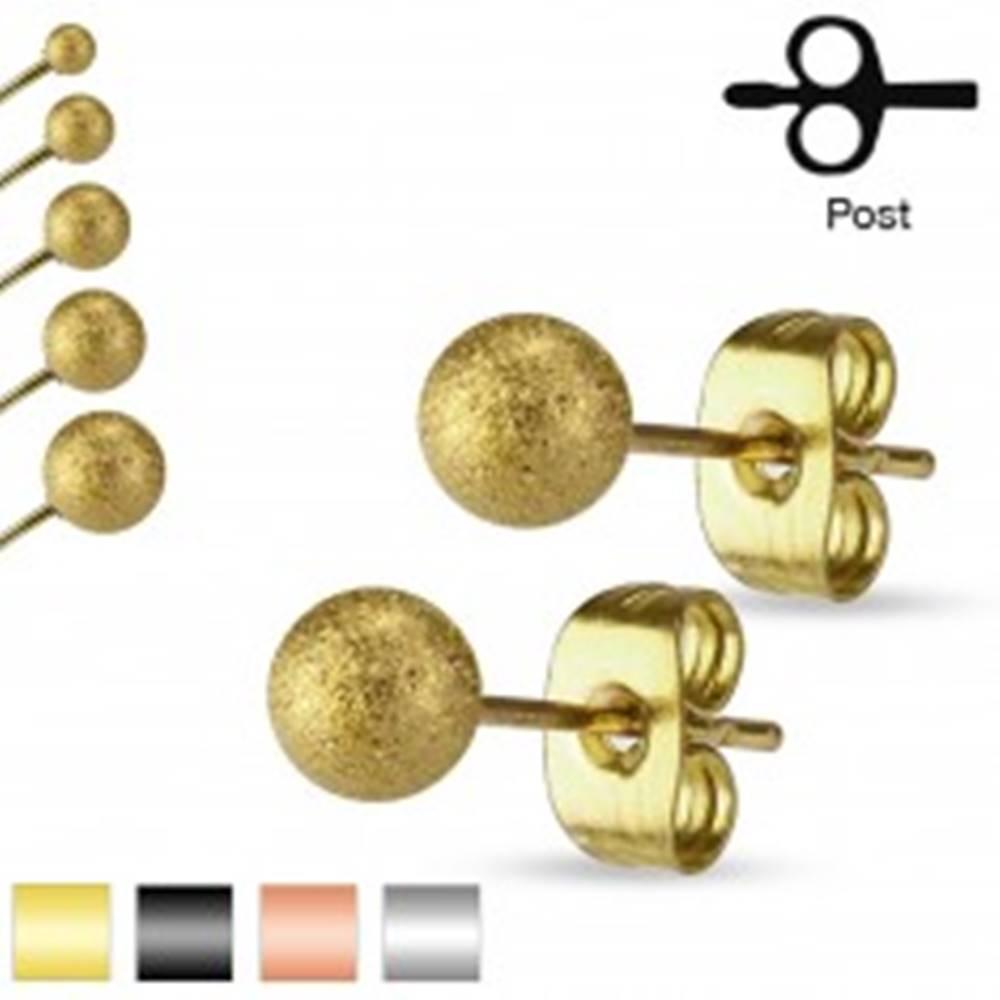 Šperky eshop Puzetové náušnice, chirurgická oceľ, pieskované trblietavé guličky, 6 mm - Farba: Čierna