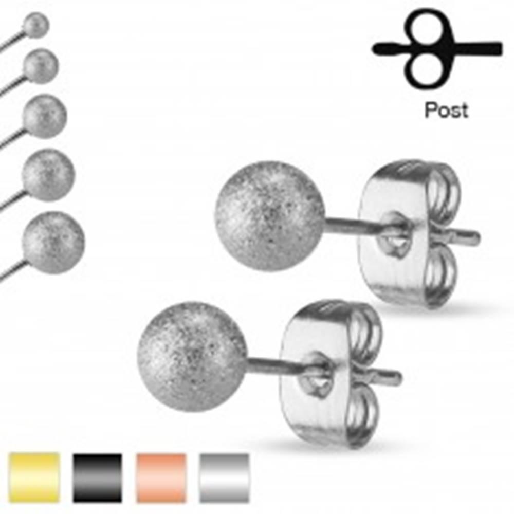 Šperky eshop Puzetové náušnice, oceľ 316L, pieskované trblietavé guličky, 5 mm - Farba: Čierna