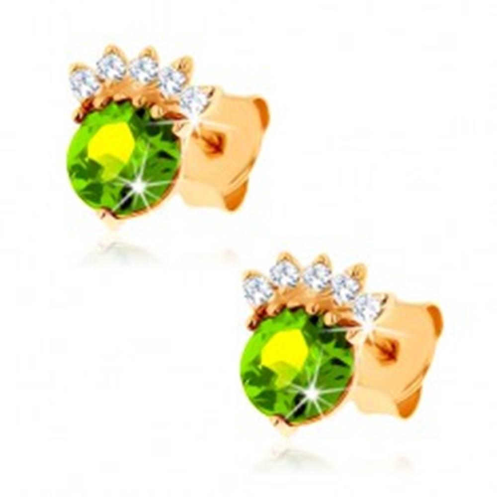Šperky eshop Puzetové náušnice v žltom 14K zlate - okrúhly olivín zelenej farby, číra korunka