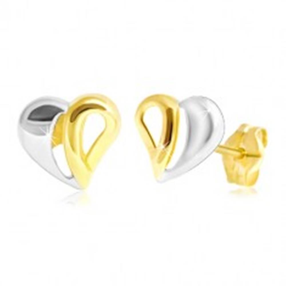 Šperky eshop Puzetové zlaté 14K náušnice - dvojfarebné srdiečko s výrezmi