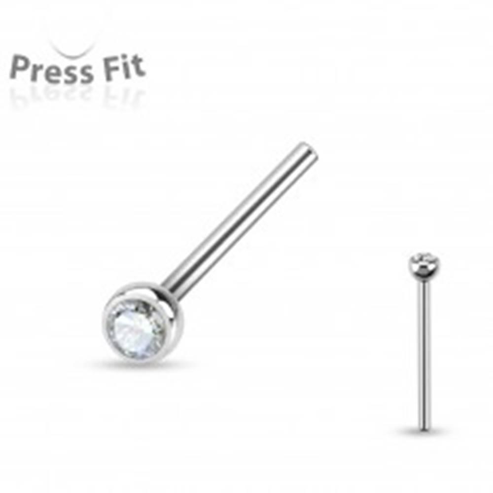 Šperky eshop Rovný piercing do nosa, chirurgická oceľ striebornej farby, zirkón čírej farby, 2 mm - Hrúbka piercingu: 0,8 mm