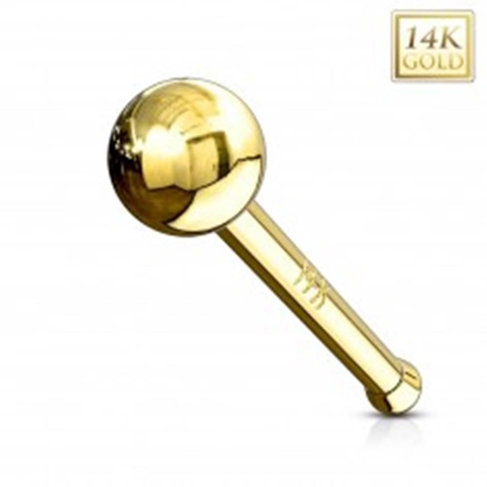 Šperky eshop Rovný zlatý 14K piercing do nosa - lesklá hladká gulička, žlté zlato - Hrúbka piercingu: 0,8 mm