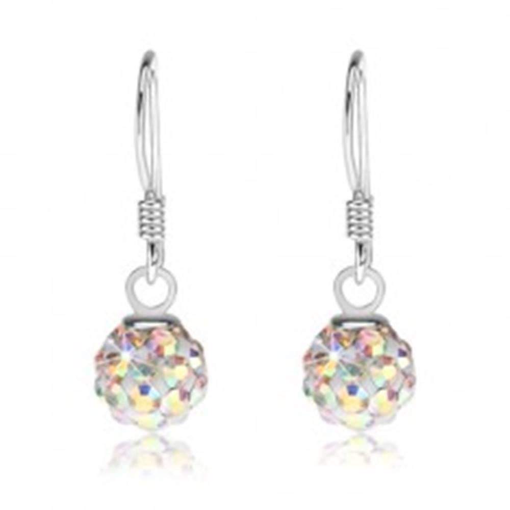 Šperky eshop Strieborné náušnice 925 - biele guličky, kryštáliky s dúhovým leskom, 6 mm