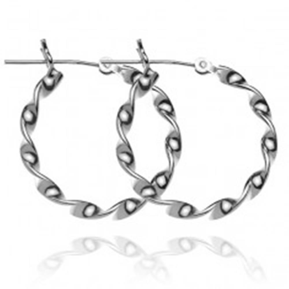Šperky eshop Strieborné náušnice 925 - hladké točené kruhy, 24 mm