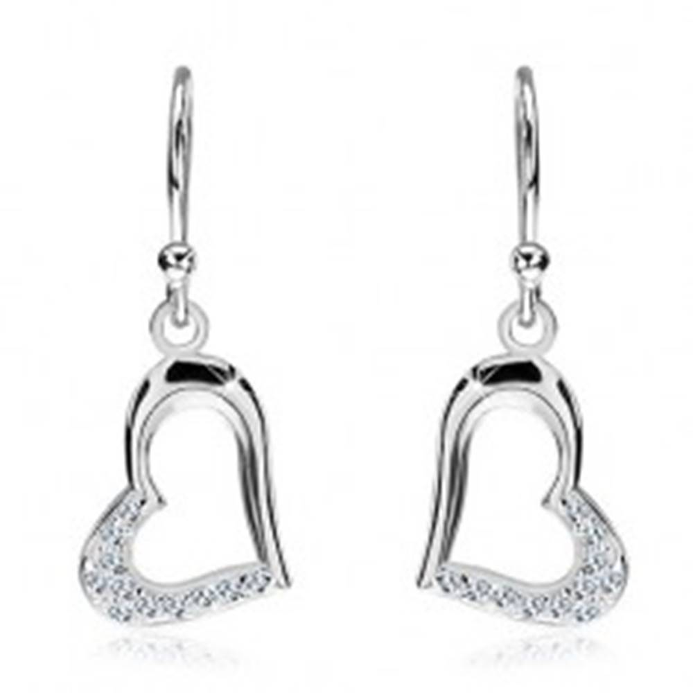 Šperky eshop Strieborné náušnice 925 - predĺžené srdce so zirkónmi, bočný úchyt