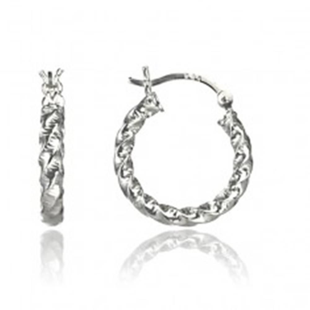 Šperky eshop Strieborné náušnice kruhy 925 - hrubá stočená línia so zárezmi, 18 mm