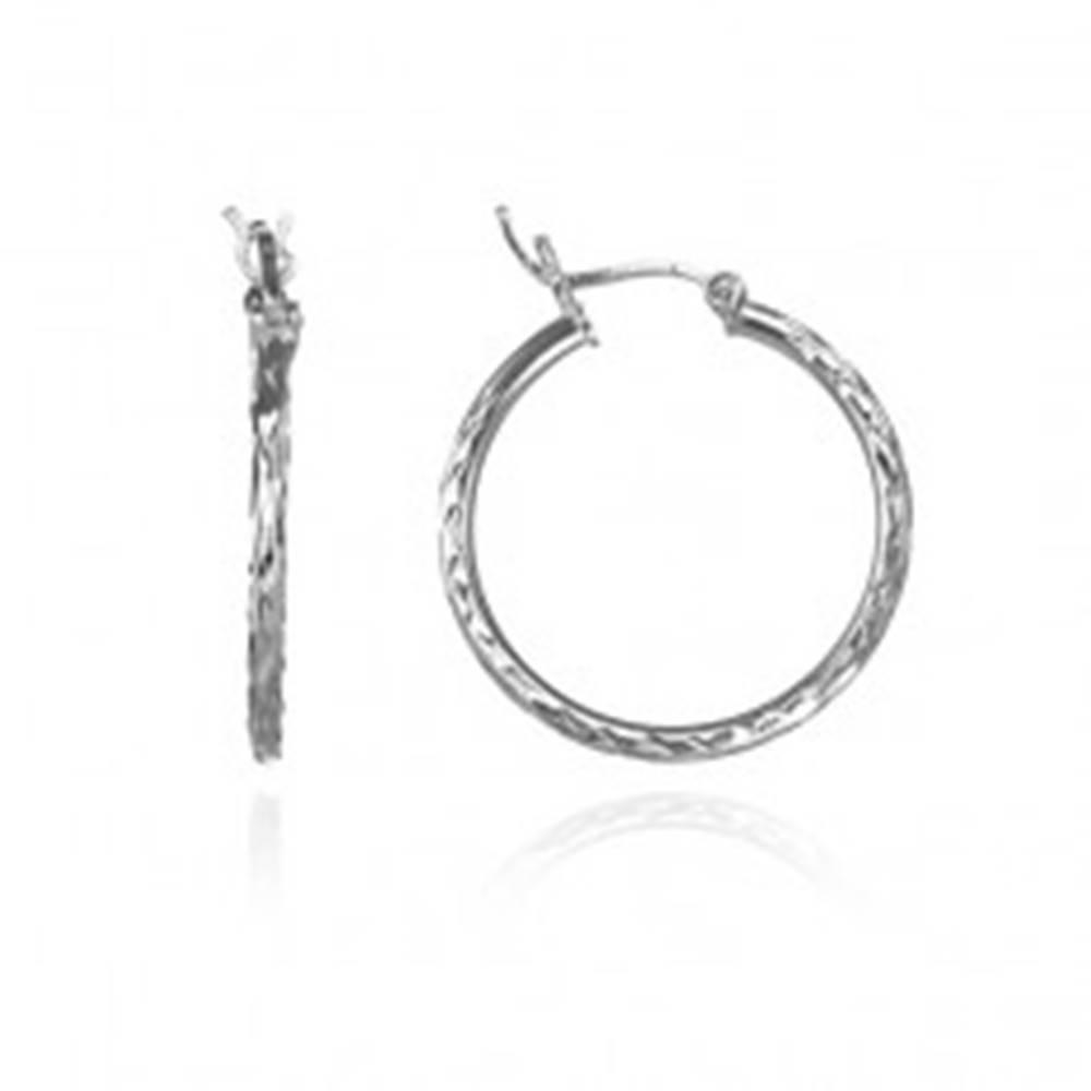 Šperky eshop Strieborné okrúhle náušnice 925 - nepravidelné zárezy, 25 mm