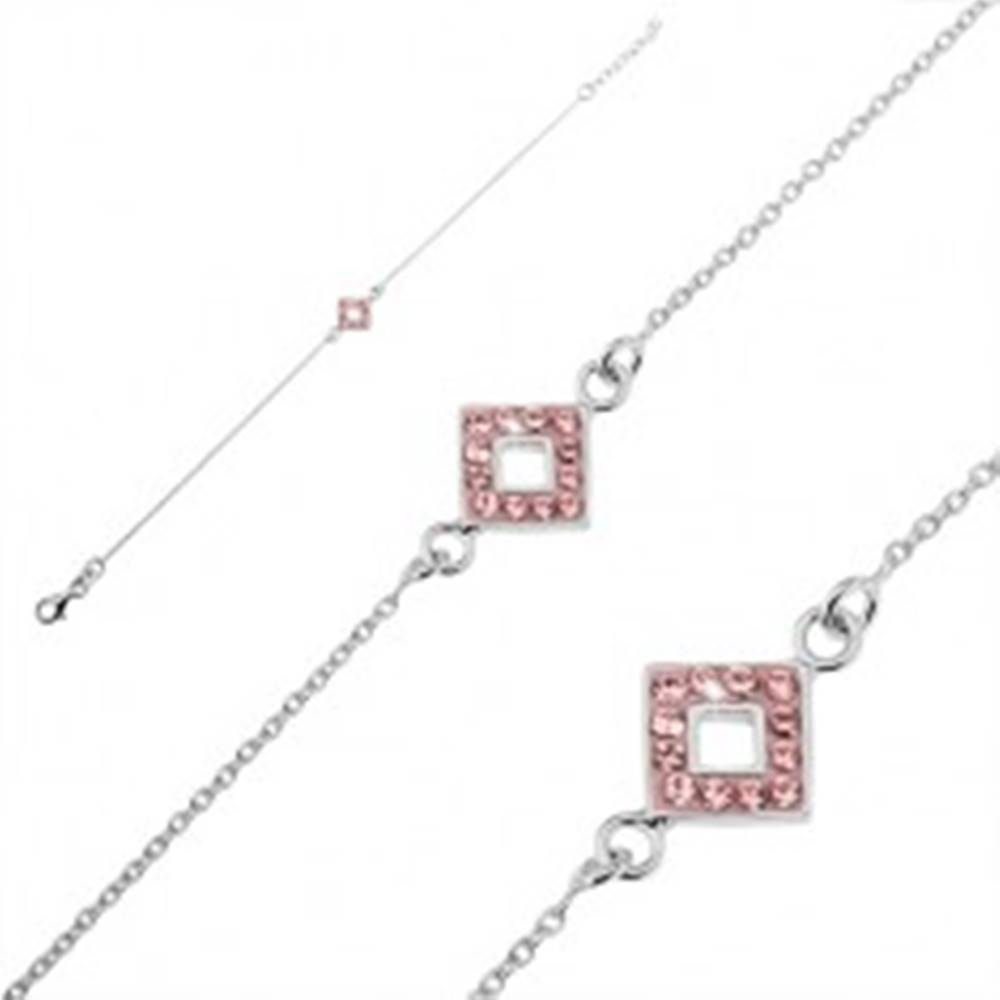 Šperky eshop Strieborný náramok 925 - retiazka so štvorcom a ružovými zirkónmi