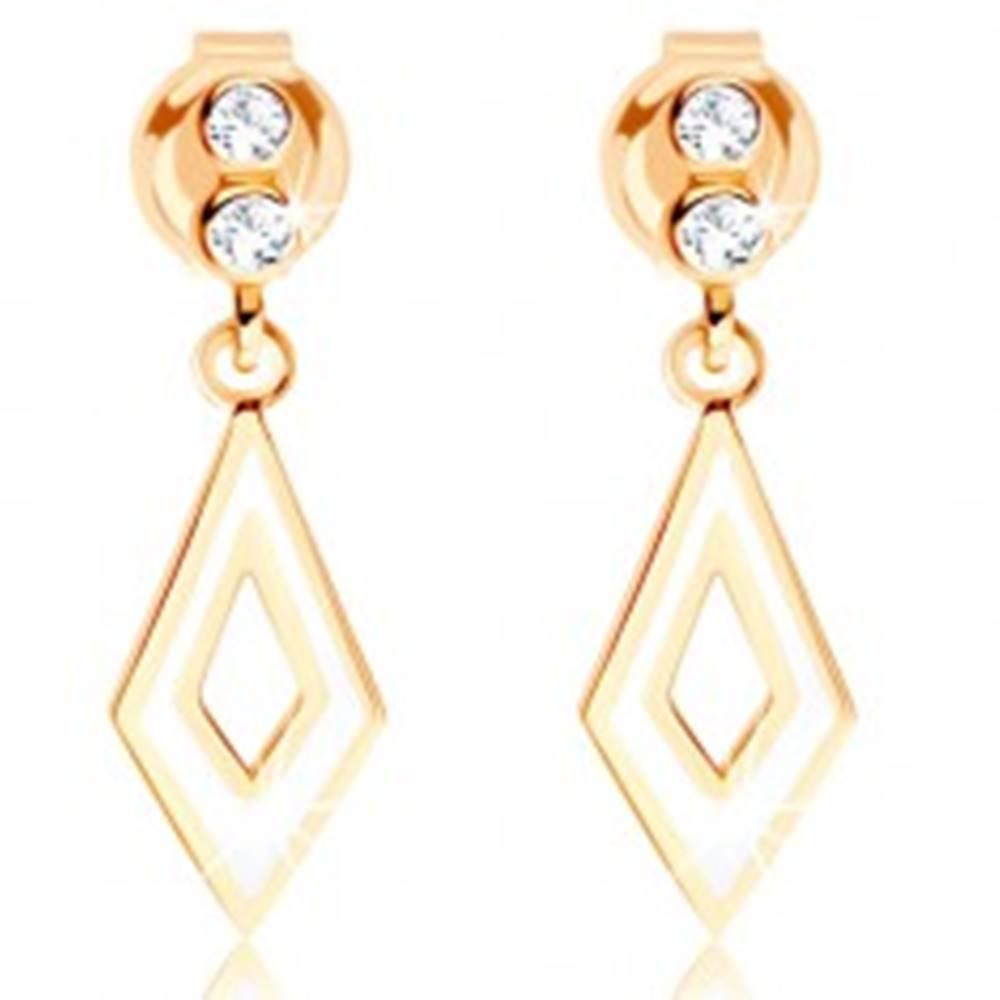 Šperky eshop Visiace náušnice zo žltého 9K zlata - číre zirkóniky, obrys kosoštvorca, biela glazúra