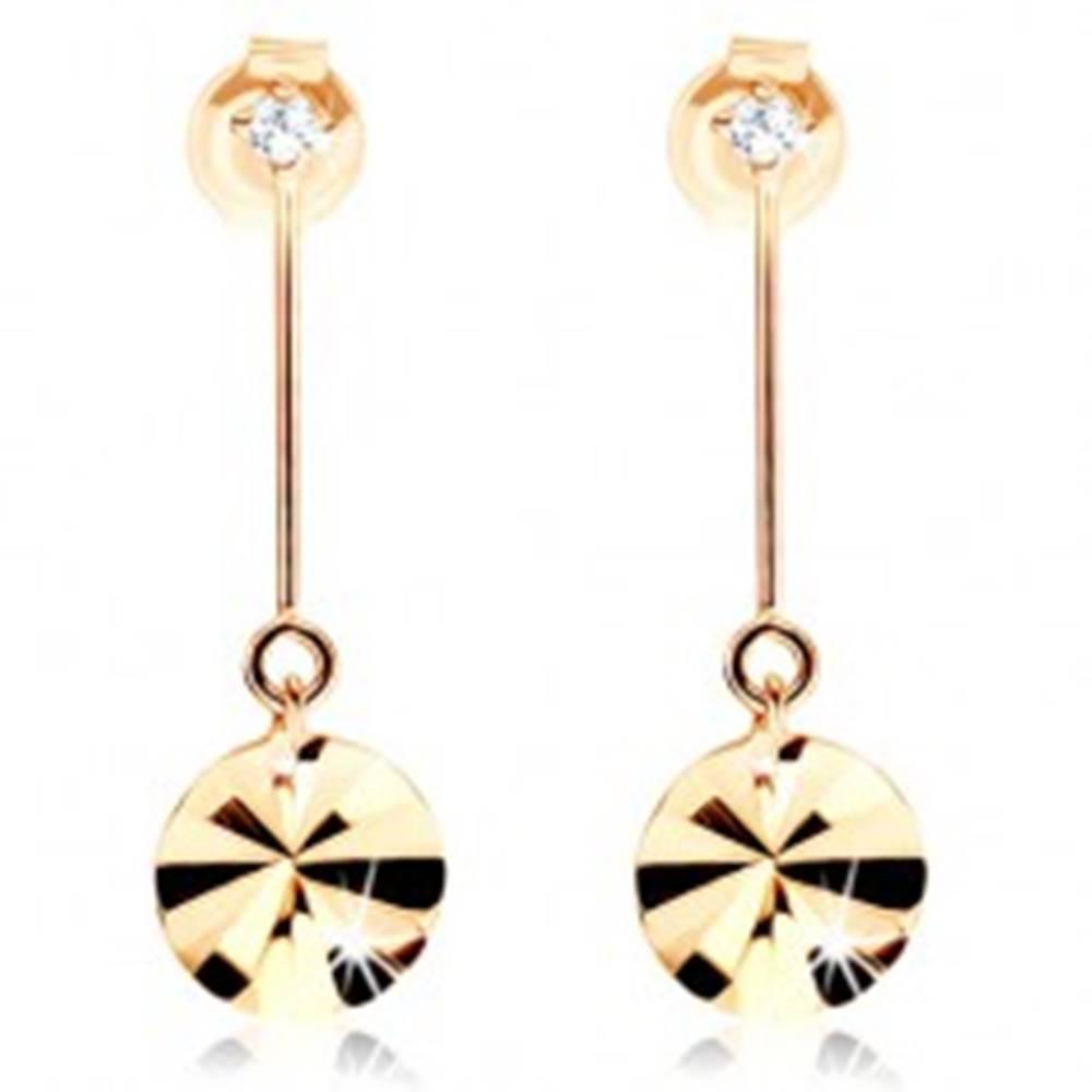 Šperky eshop Zlaté náušnice 375 - kruh visiaci na paličke, lúčovité ryhy, zirkón
