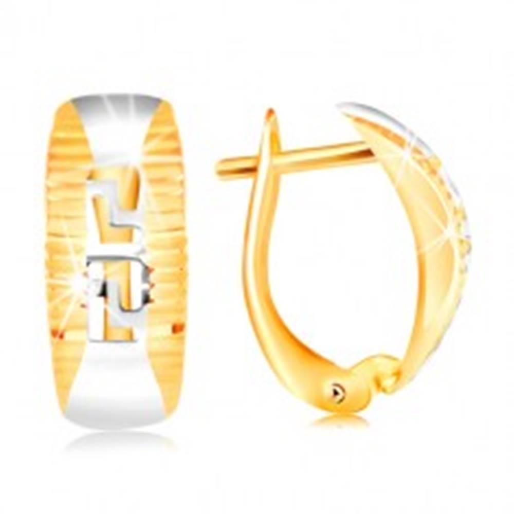 Šperky eshop Zlaté náušnice 585 - oblúk lemovaný ryhami, vyrezávaný grécky kľúč