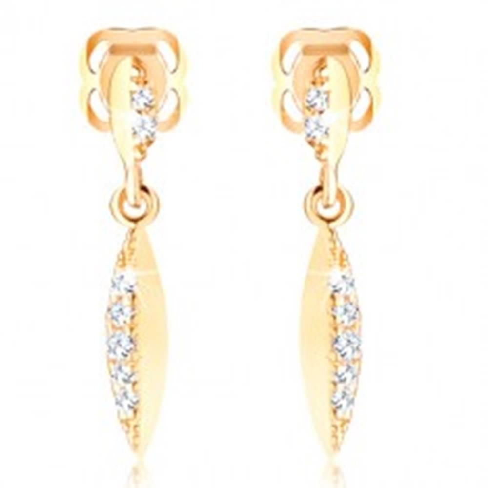 Šperky eshop Briliantové náušnice zo žltého zlata 585 - úzky list so vsadenými diamantmi