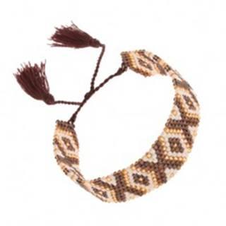 Korálkový náramok s indiánskym motívom, hnedá, biela a zlatá farba