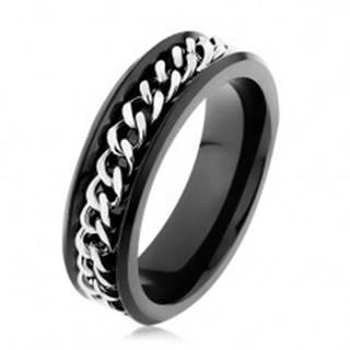 Lesklý čierny prsteň z ocele 316L, retiazka v striebornom odtieni - Veľkosť: 51 mm