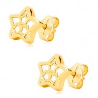 Náušnice v 14K žltom zlate - hviezda s motívom hviezdičiek a perleťou