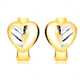 Náušnice v kombinovanom zlate 585 - plné dvojfarebné srdce s listom