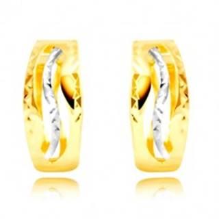 Náušnice zo 14K zlata - jemne zvlnené výrezy, vlnka z bieleho zlata