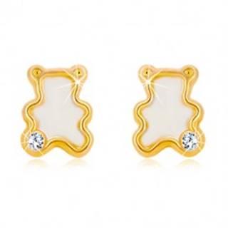 Náušnice zo žltého 14K zlata - medvedík s naturálnou perleťou a zirkónom