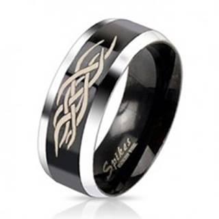 Oceľový prsteň - čierny pás s ornamentom - Veľkosť: 49 mm