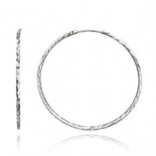 Okrúhle náušnice zo striebra 925 - hranatá línia s lístkami, 40 mm