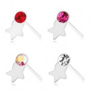Piercing do nosa, striebro 925, rovný, farebný zirkónik, lesklá hviezdička - Farba zirkónu: Červená - R