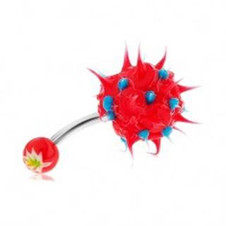 Piercing do pupku z ocele 316L, červeno-modrý ježko zo silikónu