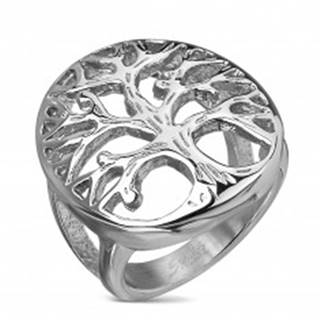 Prsteň z chirurgickej ocele s motívom stromu života vo veľkom ovále, strieborná farba - Veľkosť: 49 mm