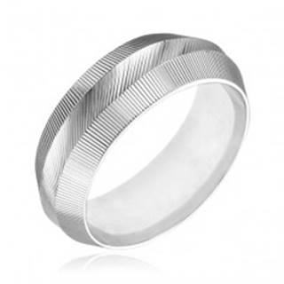 Prsteň zo striebra 925 - zúžený, vrúbkovaný povrch - Veľkosť: 50 mm