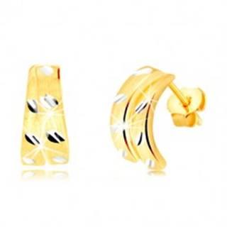 Puzetové náušnice zo 14K zlata - dva matné poloblúky so zrniečkami