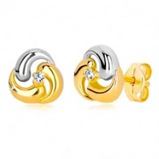 Puzetové náušnice zo zlata 585 - dvojfarebný kvet, tri zaoblené kvapky