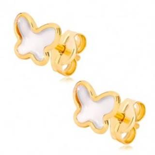 Puzetové náušnice zo žltého zlata 585 - motýlik s prírodnou perleťou
