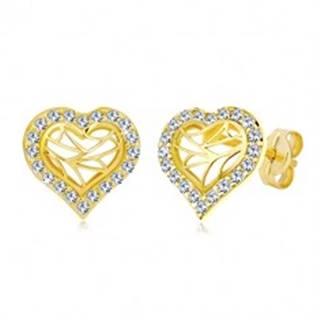 Puzetové náušnice zo žltého zlata 585 - obrys srdca so zirkónmi, výrezy