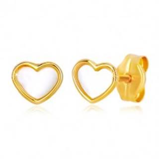 Puzetové zlaté 14K náušnice srdcového tvaru s prírodnou perleťou