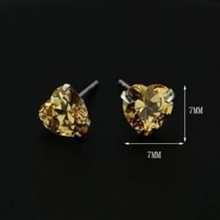 Strieborné náušnice 925 - jantárové srdce zo zirkónu, 7 mm