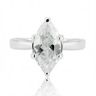 Strieborný prsteň 925 - veľký brúsený zirkón v tvare zrnka - Veľkosť: 52 mm