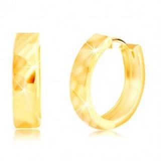 Zlaté 585 náušnice s vybrúseným ligotavým povrchom a kĺbovým zapínaním