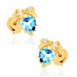 Zlaté náušnice 585 - modré topásové srdiečko s mašličkou
