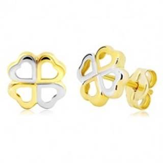 Zlaté náušnice 585 - štvorlístok pre šťastie z dvojfarebných srdiečok