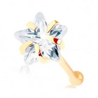 Zlatý piercing do nosa 585 - rovný, číra zirkónová hviezdička