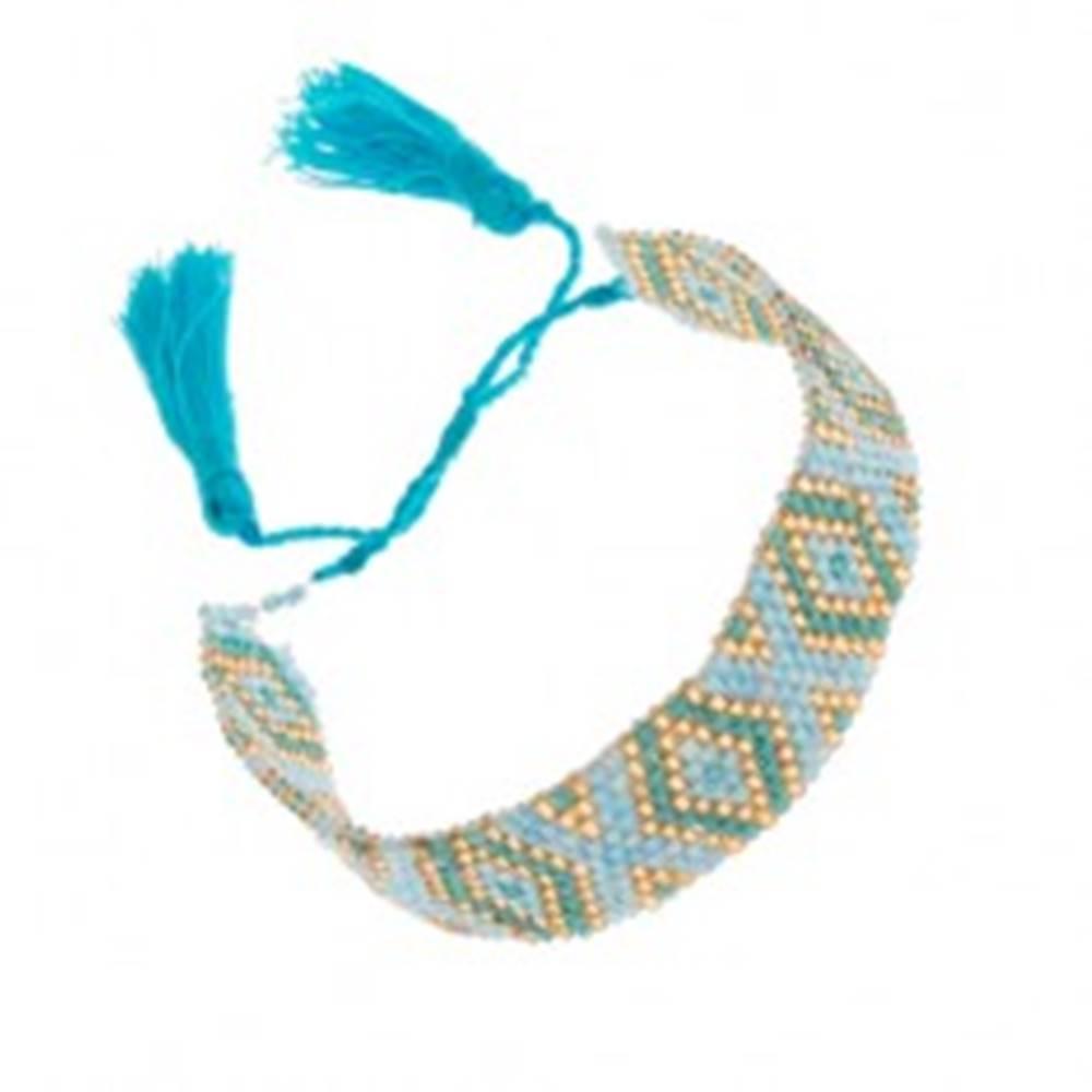 Šperky eshop Korálkový náramok s indiánskym motívom, modrá, tyrkysová a zlatá farba