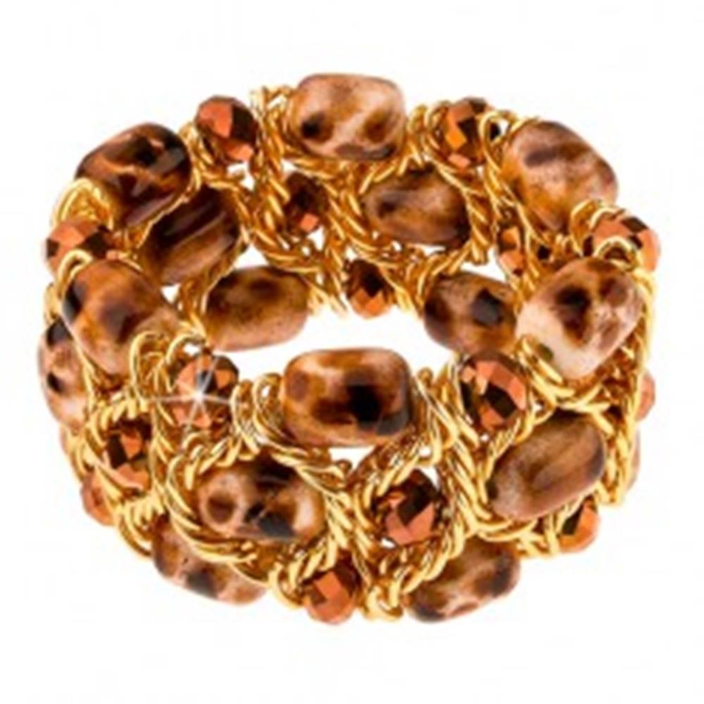 Šperky eshop Ligotavý náramok, hnedo-pieskové korálky, brúsené guličky, retiazka
