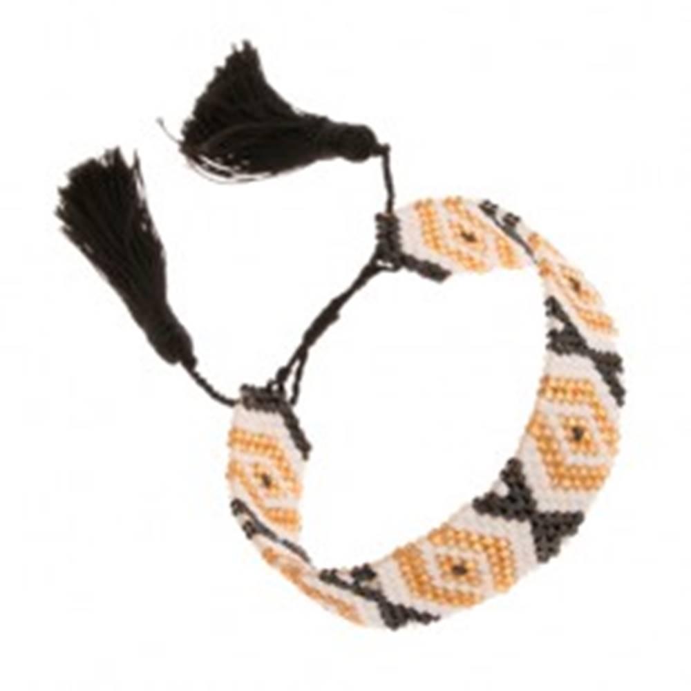 Šperky eshop Nastaviteľný náramok, korálky, zlatá, biela a čierna farba, vzor - kosoštvorce