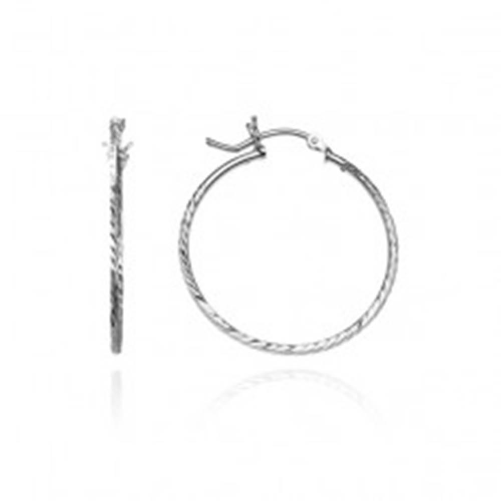 Šperky eshop Náušnice, kruhy zo striebra 925 - hranatá línia so zrniečkami, 25 mm
